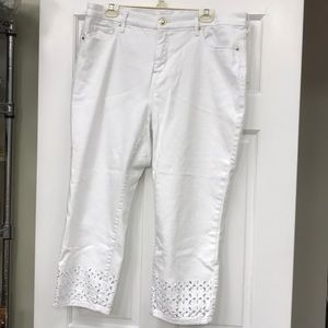 Chico's White Denim Crop Pants with Eyelet bottoms